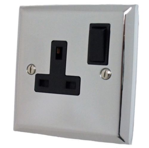 G&H SC9B Spectrum Plate Polished Chrome 1 Gang Single 13A Switched Plug Socket